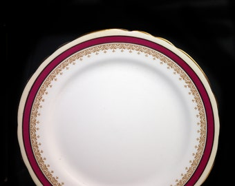 Vintage (1960s) John Aynsley Wendover Maroon salad or side plate made in England. Sold individually.