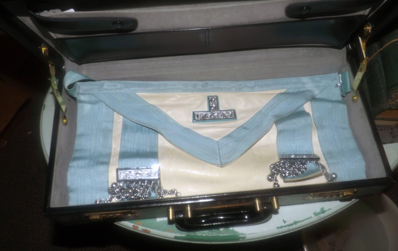 Mid-century (1950s) Masonic Regalia Case and blue English