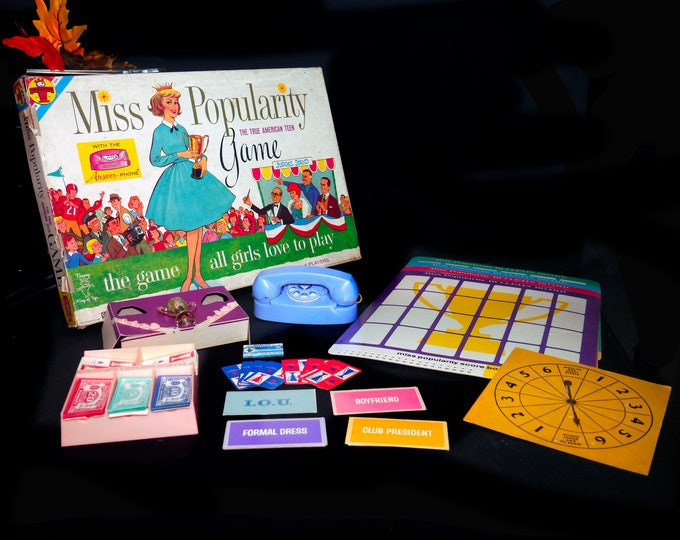 Vintage (1961) rare Miss Popularity The True American Teen board game published by Transogram as game 3892. Complete but no instructions.