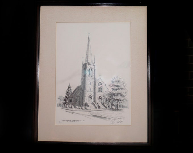 Vintage (1960s) signed numbered framed architectural pencil drawing of St. Mary's Roman Catholic Church London ON circa 1902. R. Slaughter.