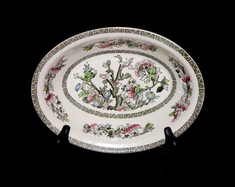 Antique art nouveau Johnson Brothers Indian Tree oval rimmed vegetable serving bowl. Hand-decorated made in England.