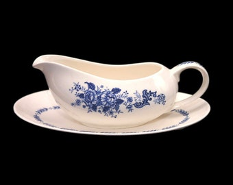Vintage Mayfair Royal Florence blue-and-white gravy boat and oval under-plate made in Japan.
