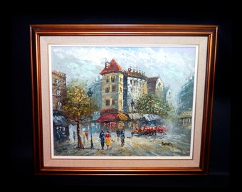 Early mid-century Caroline Burnett original impressionist oil on canvas. Paris street scene. Framed. Signed bottom right.