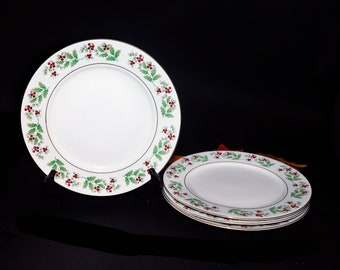 Gibson Christmas Delight | Christmas Charm large dinner plate. Seasonal holly and red berries. Sold individually.