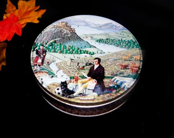 Vintage (1978) Crabtree & Evelyn round cookie or biscuit tin made in Scotland. Scottish bagpipers, man enjoying Johnnie Walker scotch.