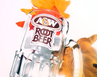Vintage (1980s) A&W Root Beer large glass stein.  Etched-glass branding.