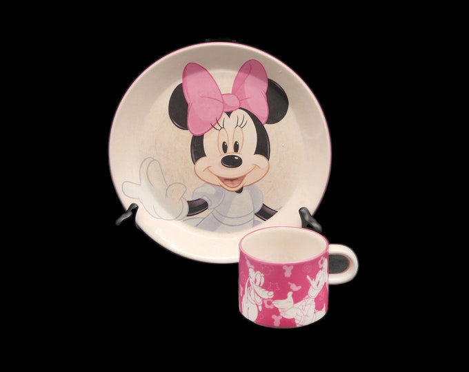 Royal Doulton Disney Minnie Mouse two-piece child's dinnerware set. Plate and cup. Great baby shower gift.
