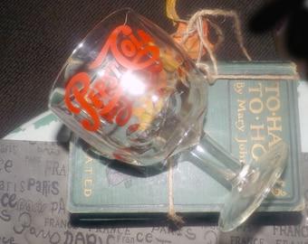 Vintage (1960s) Pepsi | Pepsi Cola original thumbprint stemmed float glass.  Original etched-glass red Pepsi scripted logo.