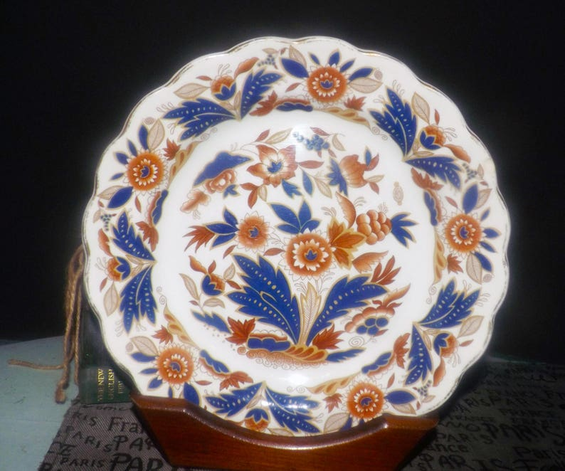 Quite vintage (1930s) Booth's | Booths Dovedale imari rust and blue dinner  plate  Scalloped, gold edge