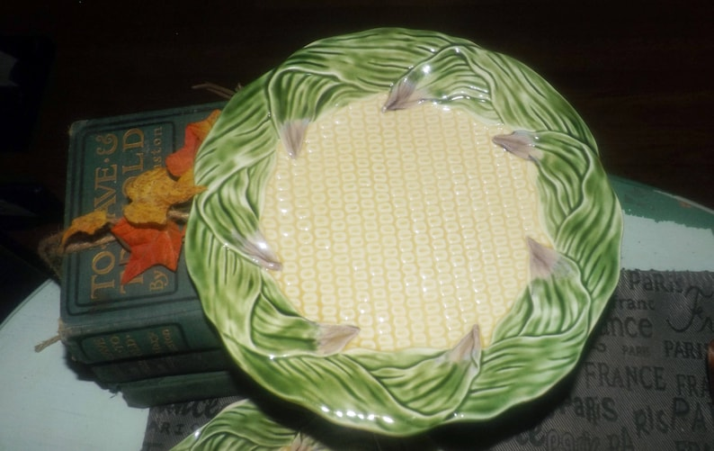 Country Gentleman salad or side plate made in Japan by Shafford 1989 Vintage Embossed corn kernels and stalks.
