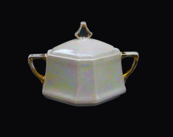 Vintage (1930s) NPS Silesia | Germany | Reinhold Schlegelmilch pearlized lusterware iridescent covered handled sugar bowl.