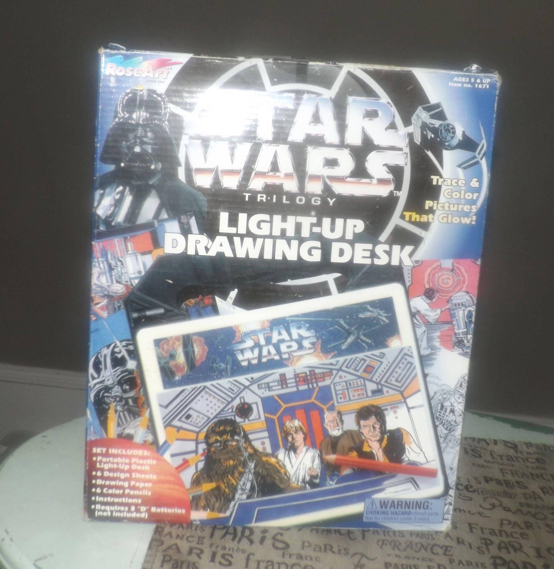 Vintage 1996 Star Wars Trilogy Light Up Drawing Desk Draw Your