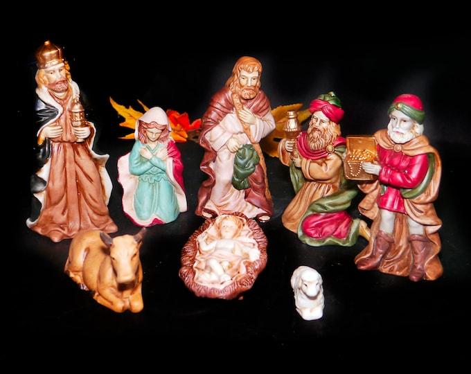 Vintage (1970s) Danson Decor porcelain bisque eight-piece Nativity Set in original box. Made in Taiwan.