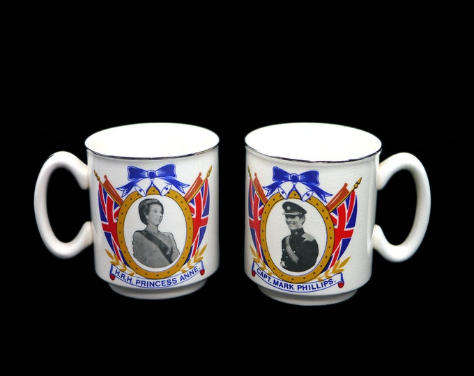 Pair of vintage (1973) Commemorative mugs Wedding of Princess Anne Captain Mark Phillips Westminter Abbey. Wilsons Paignton made in England.