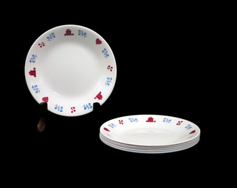 Set of six vintage Corelle Corningware Hometown bread, dessert, sides plates made in the USA. Red hearts, red houses.