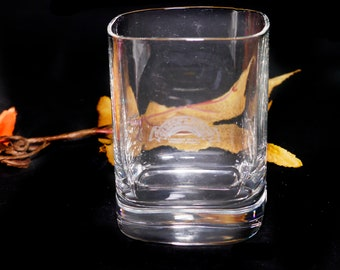 Vintage Gibson's Finest Canadian Whisky | lo-ball | whisky | on-the-rocks glass. Etched-glass branding, weighted base.