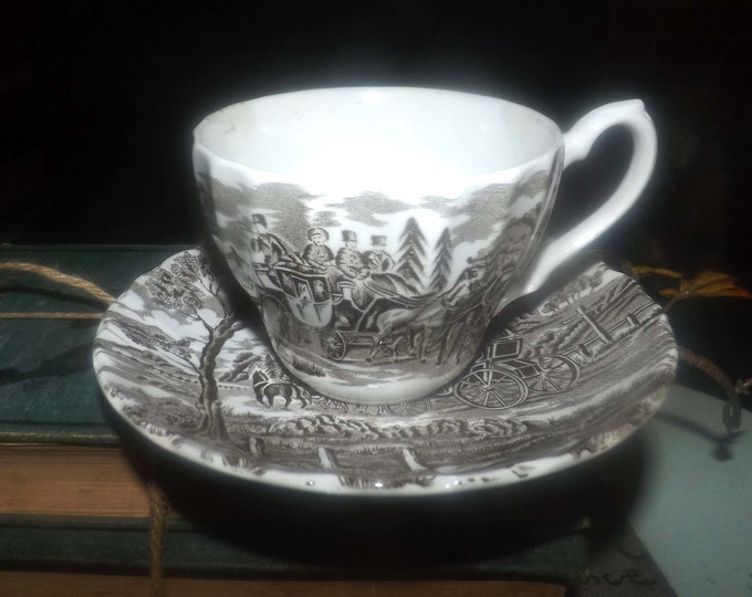 Vintage (1960s) Myott Royal Mail Brown coaching scene cup and saucer set. Made in England.  Minor flaw (see below).