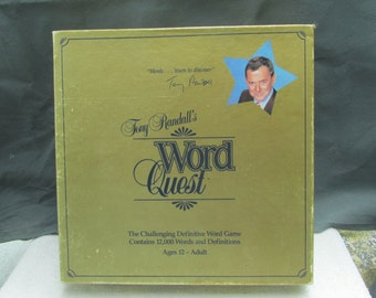 Vintage (1984) Word Quest board game sponsored by Tony Randall. Published by Jones-Sterlings. Complete.