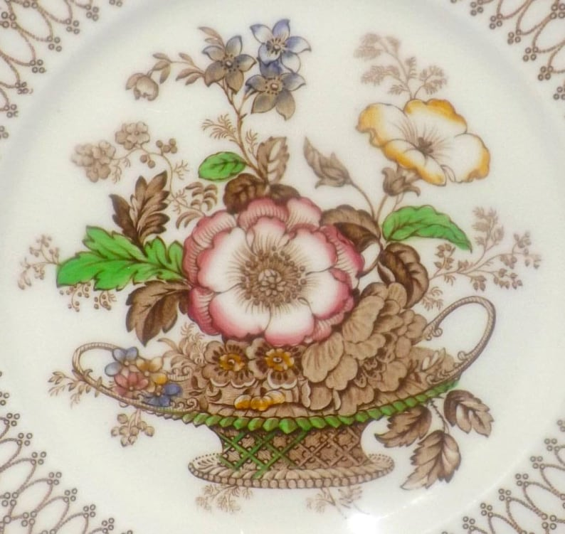 brown geometric border. 1939 Central flower basket Myott Bonnie Dundee hand-painted large dinner plate Quite vintage charger