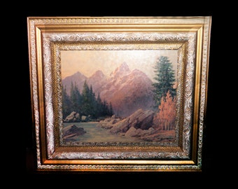 Mid-century Robert William Wood painting on board of a fall woodland, mountains and stream in carved gilt wood frame.