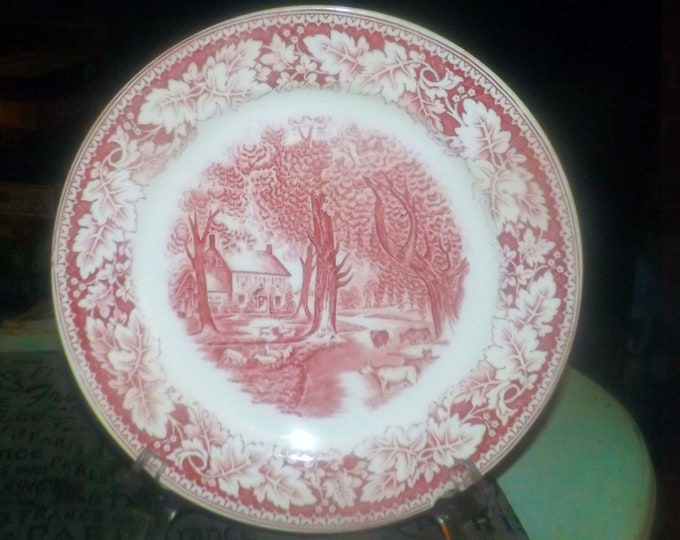 Early mid-century Homer Laughlin Currier & Ives Red Home Sweet Home dinner plate. Red transferware made in USA. Flawed (see below).