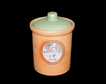 Vintage (1980s) Val do Sol terra cotta sugar canister with vacuum-sealed lid made in Portugal.