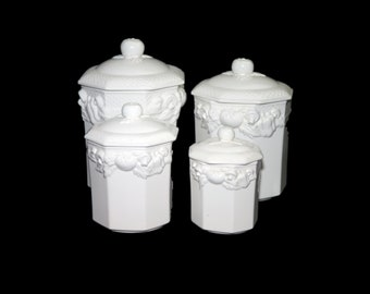 Set of four vintage (1980s) Himark Harvest Weave all-white canisters. High-relief vegetables. Made in Japan.