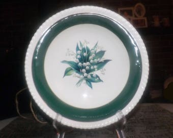 Early mid-century Sovereign Potters Sovereign Princess round vegetable serving bowl. Lily of the valley, green and gold bands.