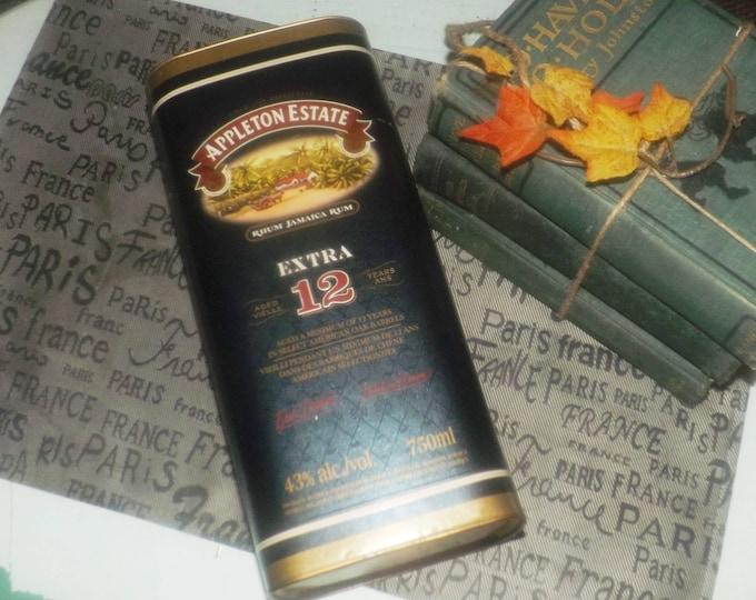 Vintage Appleton Estate 12-year old Jamaica Rum embossed tin metal base and lid. Nice home bar decor.
