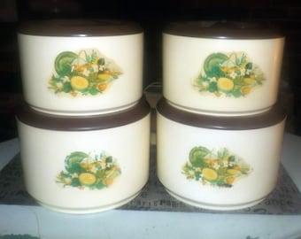 Set of four vintage (1970s) Sterilite plastic retro kitchen canisters.  Flour, sugar, tea, coffee. Images fruit and vegetables, brown lids.