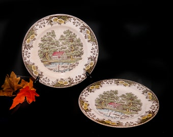 Pair of mid-century Royal China Fairoaks | Fair Oaks dinner plates made in USA. Flaws (see below).