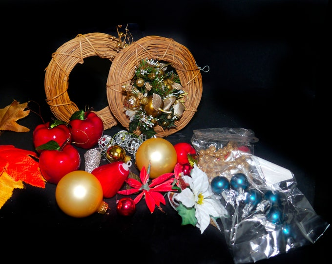 Vintage (1980s) assortment of Christmas tree decorations | ornaments. Gold, silver, satin baubles, wicker wreaths, beads, apples.
