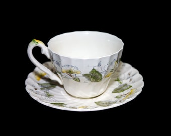 Vintage (1960s) Myott Staffordshire Westmoreland cup and saucer set. Old Chelsea ironstone made in England. Sold individually.