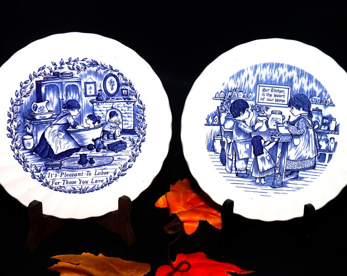 Pair of vintage (1982) Myott Meakin blue-and-white decorative   cabinet   wall plates made in England.