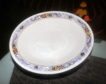 Almost antique (1920s) George Jones   Crescent Pottery The Windsor hand-painted oval rimmed vegetable serving bowl. Purple florals.