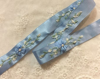 3 Yds Fancy Pants Lilac House Teal Blue Green Cream Light Yellow Satin Ribbon 3//
