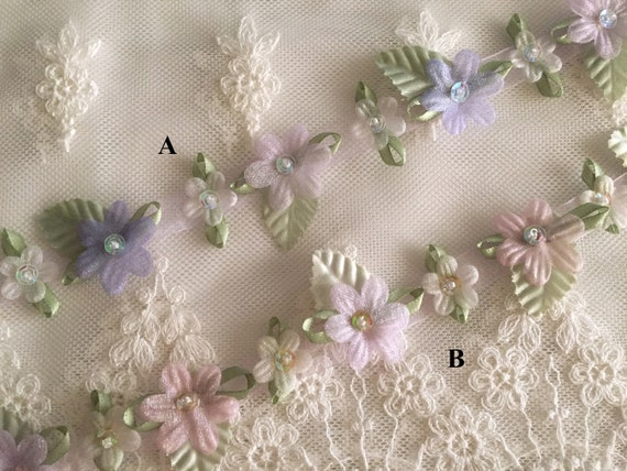 "EMBROIDERED on SHEER 2/"" organza LARGE FLOWER TRIM SEQUINS GLASS BEADS 1yd"