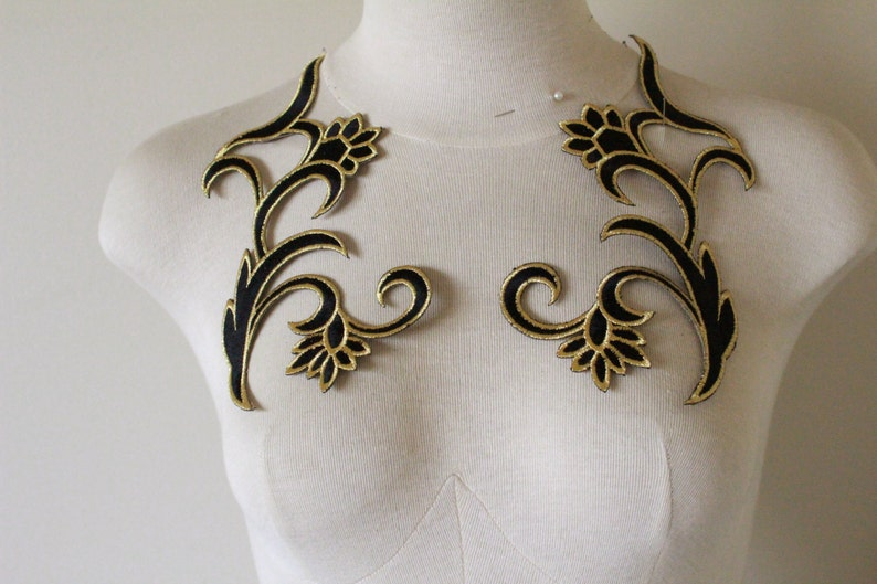 Large iron on black gold metallic iron on embroidered applique etsy
