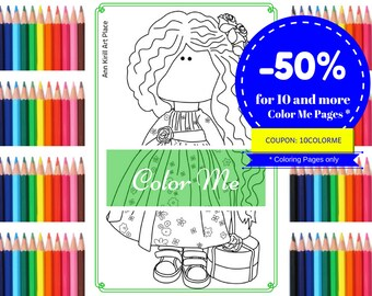 Color Me Page, Handmade Doll Stamp, Girl Digital Stamp, Dolls Digital Stamp Kids Colouring Doll to Colour Page Coloring Art Doll by Kristina
