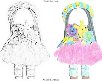 Original coloring Watercolor coloring Doll coloring Tilda Printable coloring Magical coloring Beauty colouring Dress coloring Coloring page