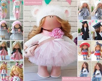 Textile doll Handmade doll Fabric doll Tilda doll Rose doll Soft doll Cloth doll Collectable doll Rag doll Interior doll by Master Olga S
