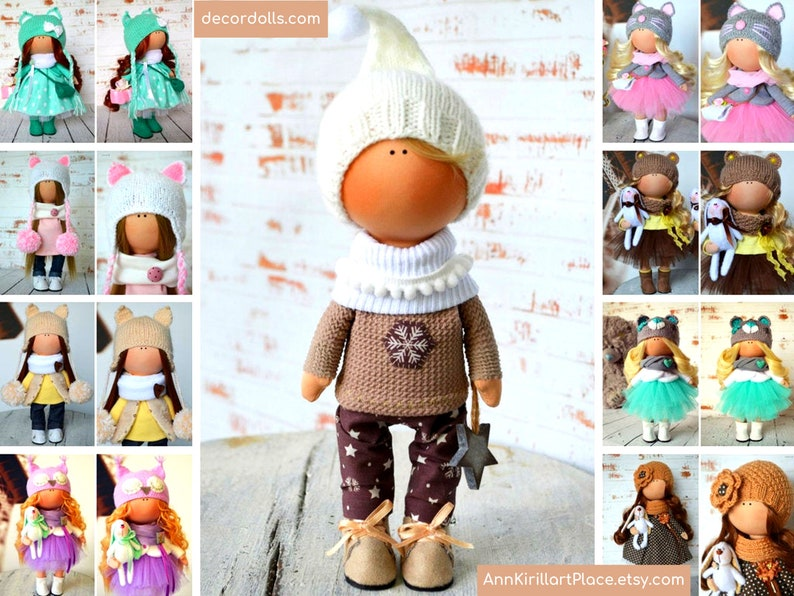 New Year Doll Winter Doll Christmas Doll Vinter Fabric Doll image 0
