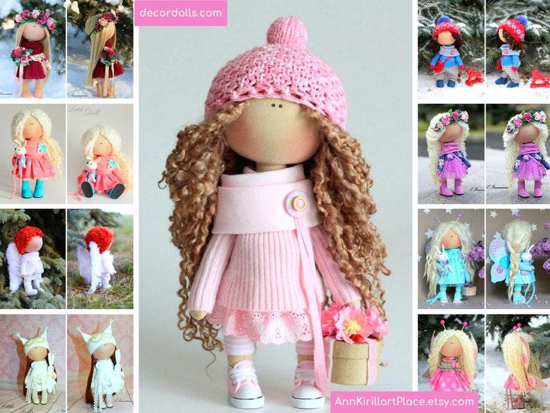 Textile doll Handmade doll Fabric doll Tilda doll Rose doll image 0