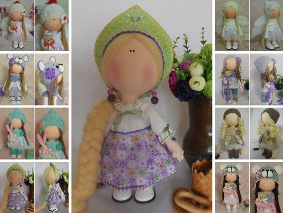 Textile doll Handmade doll Fabric doll Violet doll Soft doll Cloth doll Tilda doll Rag doll Interior doll Baby doll Nursery doll by Maria M
