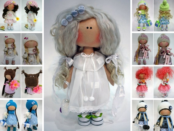 Cloth Nursery Doll Fabric Muñecas Rag Christmas Doll Bambole Textile Doll Handmade Tilda Doll Puppen White Doll Poupée Collection by Ksenia