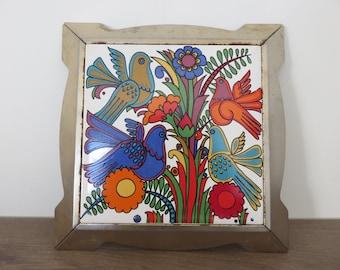 "below flat ACAPULCO ""Villeroy & Boch"" ceramic and metal 1970's vintage 70's pop ceramic trivet"
