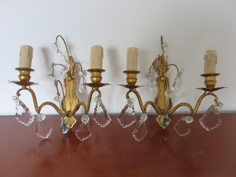 Ancienne paire de lampes doubles appliques en bronze pampilles etsy