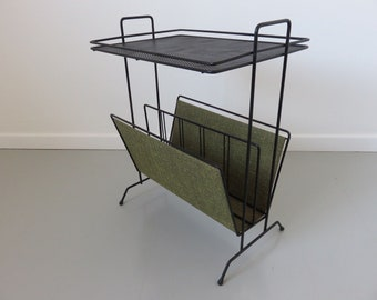 bedside table door magazine perforated metal and vinyl typical 50's 60's french vintage 1950 1960 table magazine rack