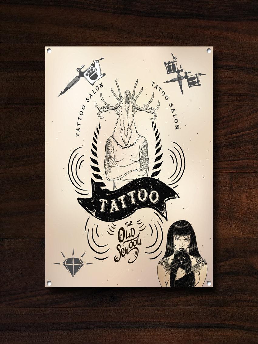 Tattoo Studio, Metal Sign, Tattoo Studio Decor, Tattoo