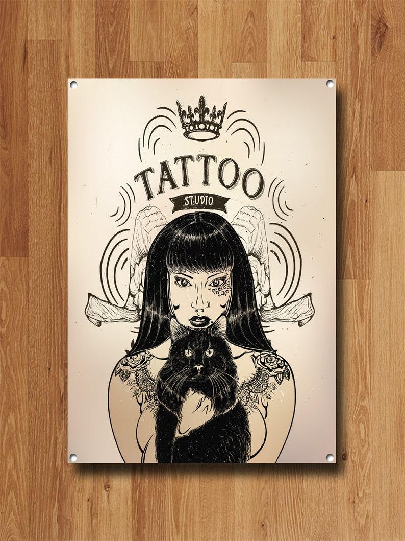 063fab09f0a13 Tattoo Studio Metal Sign Tattoo Studio Decor Tattoo Studio | Etsy